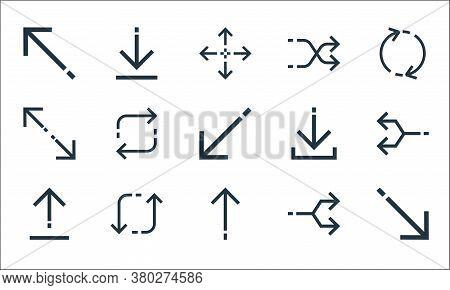 Arrows Line Icons. Linear Set. Quality Vector Line Set Such As Diagonal Arrow, Up Arrow, Upload, Jun