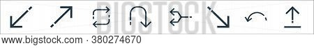 Arrows Line Icons. Linear Set. Quality Vector Line Set Such As Upload, Return, Diagonal Arrow, Junct