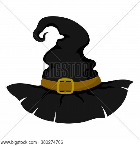 Halloween Vector Witch Hat In Cartoon Style Isolated On White Background. Stylish Headpiece. Design