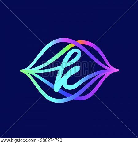 K Letter Logo With Sound Wave Flow. This Font Is Perfect For A Audio Technology, Advertising Of A Mu