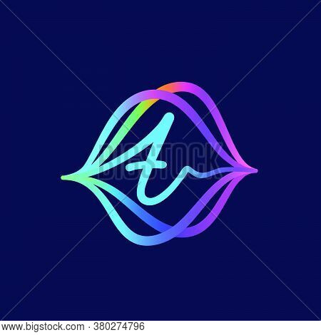 T Letter Logo With Sound Wave Flow. This Font Is Perfect For A Audio Technology, Advertising Of A Mu
