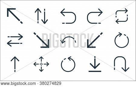 Arrows Line Icons. Linear Set. Quality Vector Line Set Such As Returning, Rotating Arrow, Up Arrow,