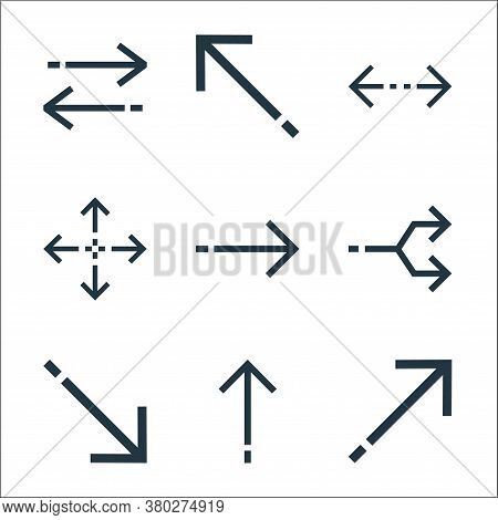 Arrows Line Icons. Linear Set. Quality Vector Line Set Such As Diagonal Arrow, Up Arrow, Diagonal Ar