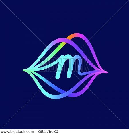 M Letter Logo With Sound Wave Flow. This Font Is Perfect For A Audio Technology, Advertising Of A Mu