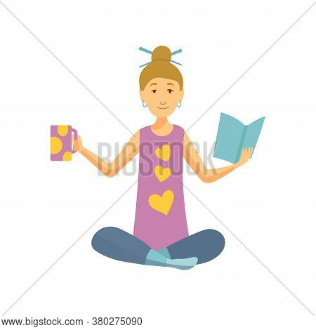 Home Leisure. Girl With Coffe And Book. Young People Leisure Time. Staying At Home. Enjoyed Leisure