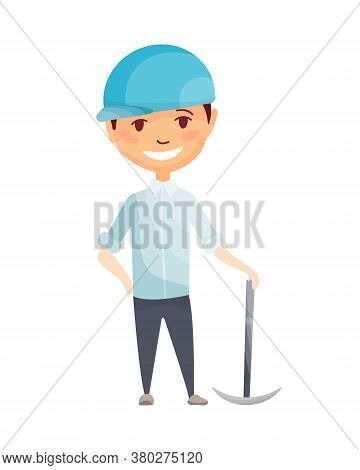 Kid Builder. Little Worker In Helmet. Children With Cpickaxe, Making Job. Working Builder In Blue He