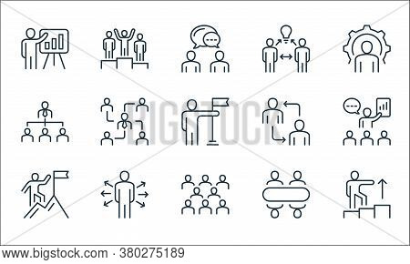 Leadership Line Icons. Linear Set. Quality Vector Line Set Such As Leadership, Team, Climbing, Meeti