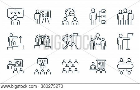 Leadership Line Icons. Linear Set. Quality Vector Line Set Such As Meeting, Team, Presentation, Pres