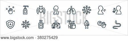 Coronavirus Line Icons. Linear Set. Quality Vector Line Set Such As Snake, Bat, Disease, Protection,