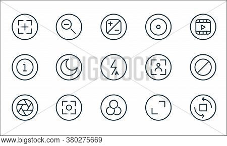 Camera Line Icons. Linear Set. Quality Vector Line Set Such As Rotate Camera, Filter, Lens, Full Scr