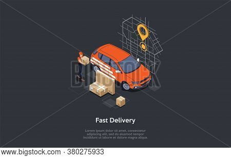 Express Delivery Courier Service Concept. Fast Delivery Service Courier In Work Uniform Bringing Box