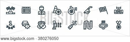 Auto Racing Line Icons. Linear Set. Quality Vector Line Set Such As Medal, Circuit, Gear Shift, Numb