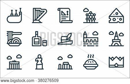 Europe Line Icons. Linear Set. Quality Vector Line Set Such As Crown, Stonehenge, Brandenburg Gate,