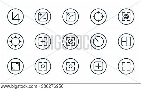 Camera Line Icons. Linear Set. Quality Vector Line Set Such As Camera, Camera, Full Screen, Add, Len