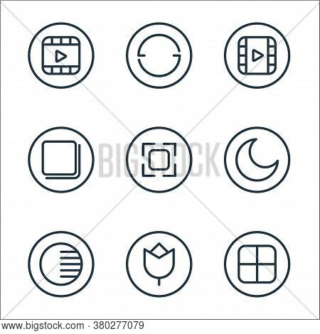 Camera Line Icons. Linear Set. Quality Vector Line Set Such As Grid, Effect, Adjust, Night Mode, Cam
