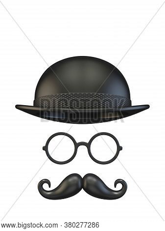 Cylinder Hat, Eyeglasses And Moustaches 3d Rendering Illustration Isolated On White Background