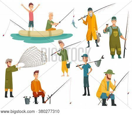 Set Of Fishermans Fishing With Fishing Rod. Fishing Equipment, Leisure And Hobby Catch Fish. Fisherm
