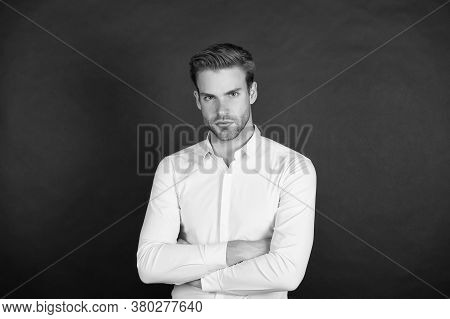 Unmarried Man. Bachelor Dark Background. Single Guy In Classic Style. Confident Bachelor. Classy Bac