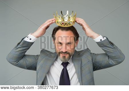 Winner Handsome Man Actor Artist Scientist With Crown, Respectful Person Concept.