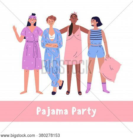 Pajama Party Vector Cartoon Illustration.teenagers Have Fun Together.set With Cute Girls.vector Youn
