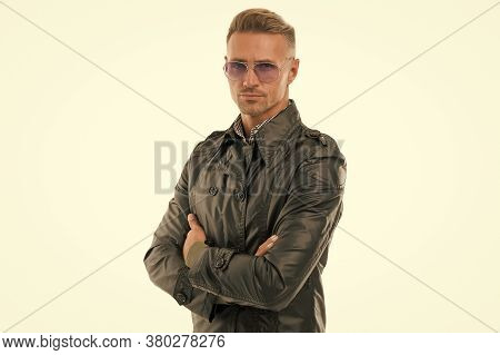 Street Style Fashion. Fashion Man Isolated On White. Confident Look Of Fashion Model. Handsome Guy W