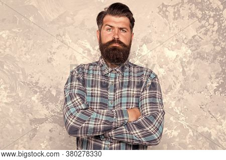 Mature Guy Casual Style. Confident Male Hipster After Barbershop. Professional Hairdresser In Checke