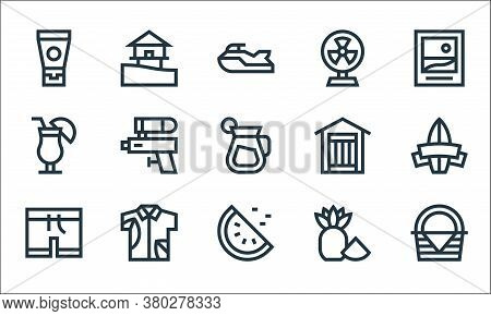 Summer Line Icons. Linear Set. Quality Vector Line Set Such As Picnic Basket, Watermelon, Swimsuit,