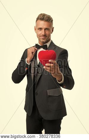 Celebrating Love. Tuxedo Man Red Valentines Heart. Ready For Romantic Date. Special Occasion. Elegan