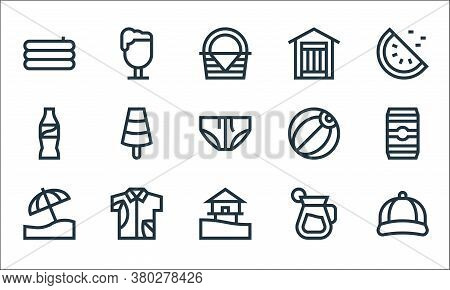 Summer Line Icons. Linear Set. Quality Vector Line Set Such As Cap, Sea, Beach Umbrella, Drink, Hawa
