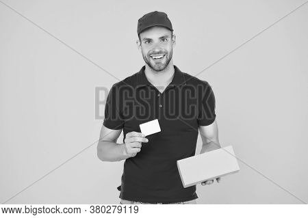 Unique Offer. Man Red Cap Yellow Background. Delivering Purchase. Delivered To Your Destination. Ser