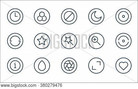 Camera Line Icons. Linear Set. Quality Vector Line Set Such As Love, Lens, About, Full Screen, Brush