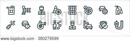Auto Racing Line Icons. Linear Set. Quality Vector Line Set Such As Race Track, Oil, Racing Car, Cha