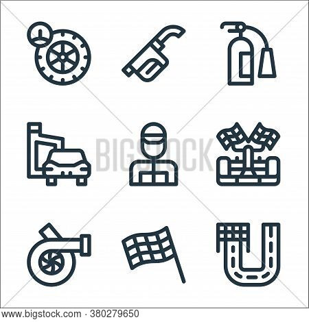 Auto Racing Line Icons. Linear Set. Quality Vector Line Set Such As Racing, Finish Flag, Motor, Raci