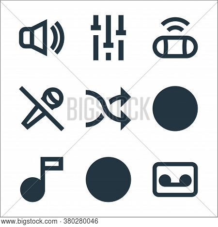Music Line Icons. Linear Set. Quality Vector Line Set Such As Cassette, Cd Burning, Music Note, Viny