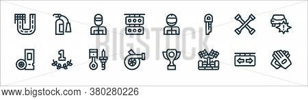 Auto Racing Line Icons. Linear Set. Quality Vector Line Set Such As Glove, Racing Car, Motor, Ticket
