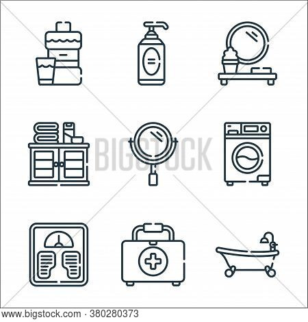 Bathroom Line Icons. Linear Set. Quality Vector Line Set Such As Bathtub, First Aid Kit, Weight Scal