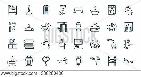 Bathroom Line Icons. Linear Set. Quality Vector Line Set Such As Toothbrush, Hairdryer, Bathtub, Soa