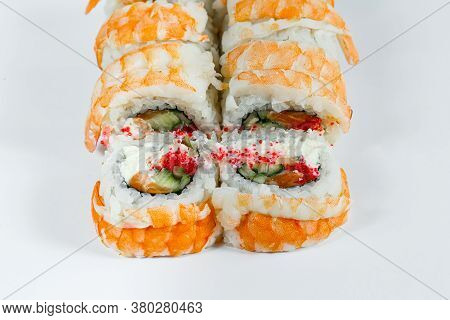 Japanese Traditional Food. Sushi Rolls Philadelphia Classic With Fresh Shrimps And Cream Cheese And