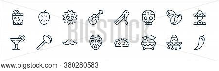 Mexico Line Icons. Linear Set. Quality Vector Line Set Such As Chilli, Nachos, Wrestling, Margarita,