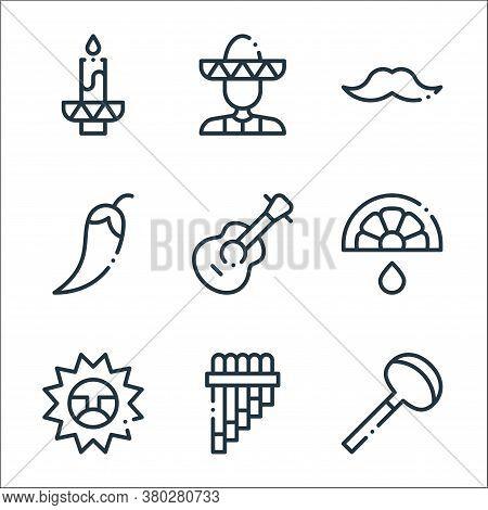 Mexico Line Icons. Linear Set. Quality Vector Line Set Such As Coa De Jima, Zampona, Sun, Lime, Guit