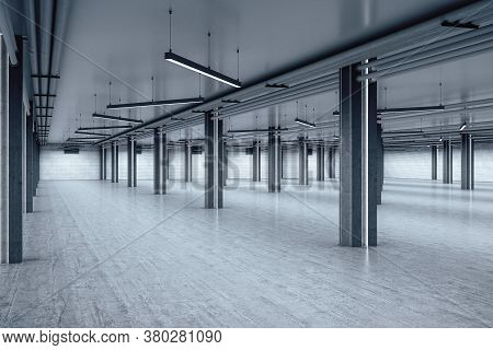 Big Warehouse Interior With Blank Wall And Columns. Industrial And Exhibition Concept. 3d Rendering