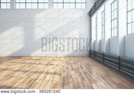 Contemporary Large Hangar Interior With Empty Brick Wall And Wooden Floor. Industrial And Exhibition