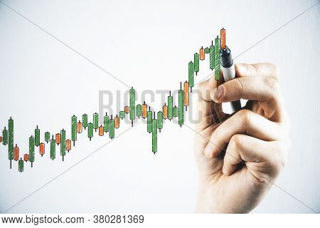 Hand Drawing Creative Color Candlestick Chart On White Wall. Increase And Stats Concept.