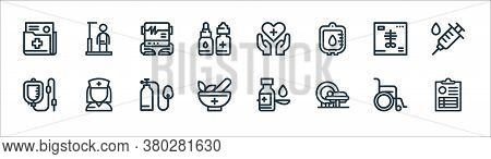 Medical Tools Line Icons. Linear Set. Quality Vector Line Set Such As Medical Result, Mri, Mortar, I