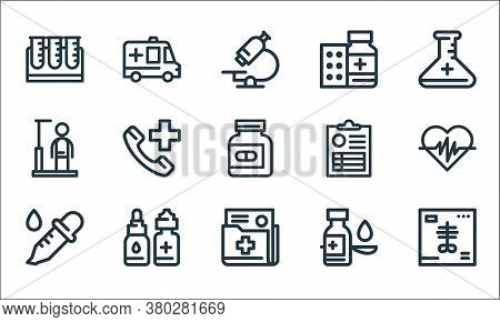 Medical Tools Line Icons. Linear Set. Quality Vector Line Set Such As X Ray, Document, Dropper, Syru