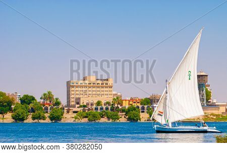 A Sail Boat In The Nile River In Luxor, Egypt