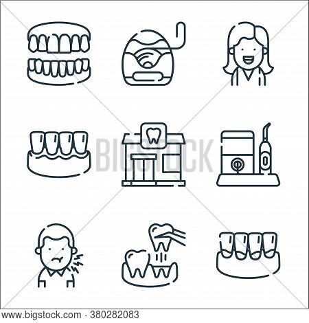 Dental Care Line Icons. Linear Set. Quality Vector Line Set Such As Plaque, Extraction, Toothache, D