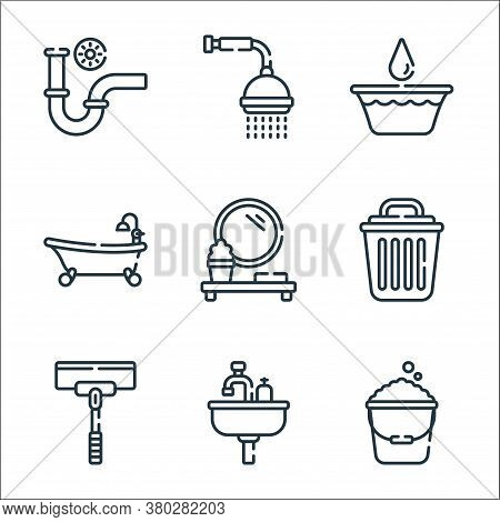 Bathroom Line Icons. Linear Set. Quality Vector Line Set Such As Bucket, Sink, Wiper, Bin, Mirror, B