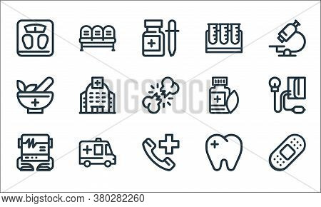 Medical Tools Line Icons. Linear Set. Quality Vector Line Set Such As Bandage, Emergency Call, Elect