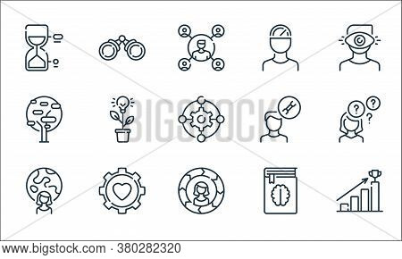 Life Skills Line Icons. Linear Set. Quality Vector Line Set Such As Bars, Skills, Woman, Book, Gear,